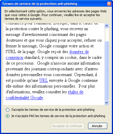 Termes de service de la protection anti-phishing de Firefox via Google
