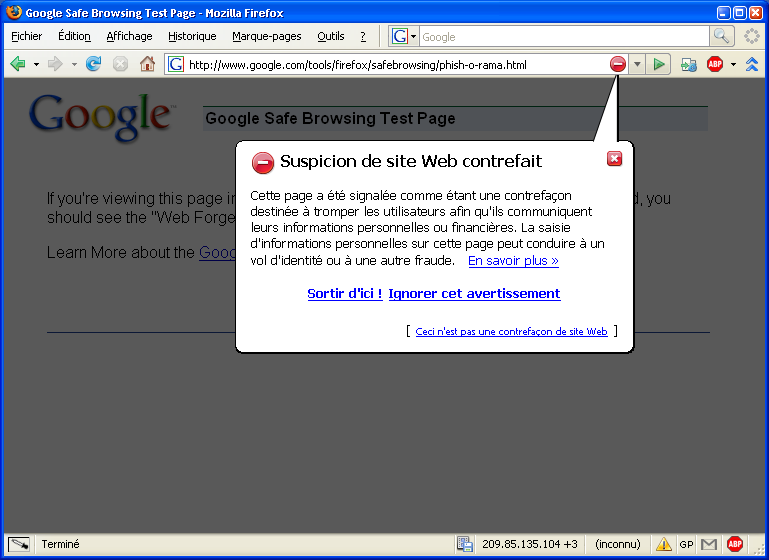 Anti-Phishing de Firefox 2