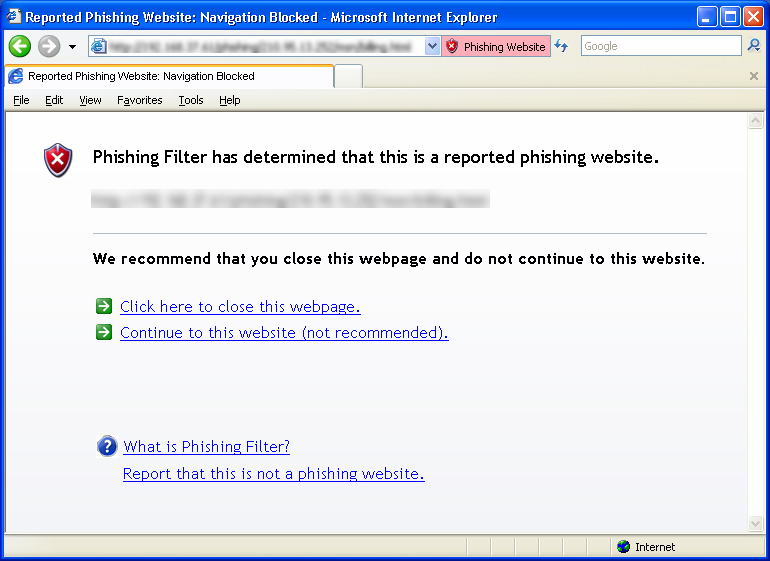 Anti-Phishing d'Internet Explorer 7